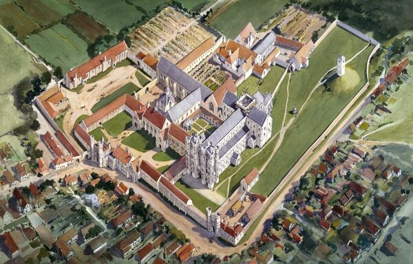 ST AUGUSTINE'S ABBEY, Canterbury, Kent. Aerial view reconstruction drawing of the monastic buildings c.1500 by Terry BALL (English Heritage Graphics Team)