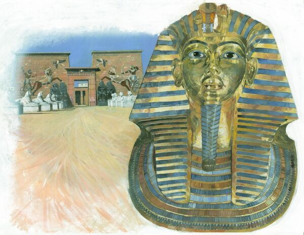 The golden mask of the mummy of the Egyptian Pharaoh Tutankhamun, with a an ancient Egyptian temple complex in the background. Illustration by Ivan Lapper, 1990s