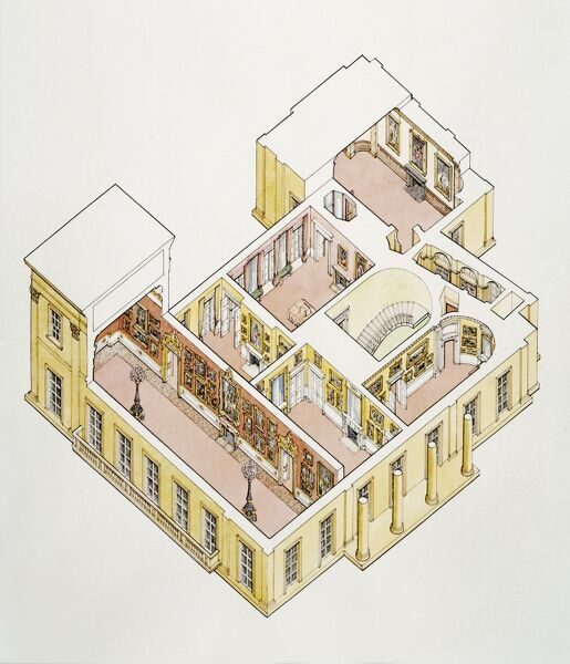 APSLEY HOUSE, London. Present day cutaway drawing of the first floor by Stephen Conlin