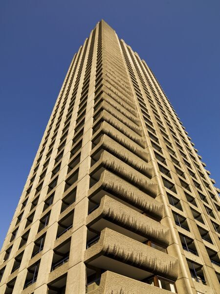 The Barbican Centre, Silk Street, London.   Detail of tower block