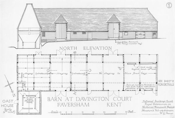 Barn and Oast House at Davington Court, Faversham, Kent. North elevation. National Buildings Record (NBR). Measured drawing by W. G. Prosser, February 1964