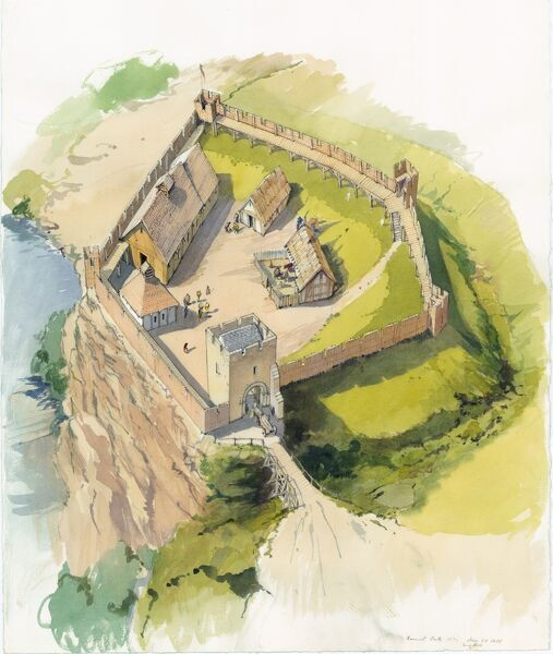 BARNARD CASTLE, Durham. Reconstruction drawing by Terry Ball of the Inner Ward c.1100, showing stone Gatehouse, timber buildings and curtain walls