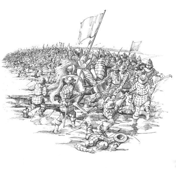 Reconstruction drawing by Peter Dunn showing the final disasterous charge of the Lancastrian forces against the Yorkists during the Battle of Blore Heath, Staffordshire, 23rd September 1459. War of the Roses. House of York. House of Lancaster