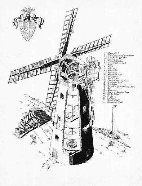 Berney Arms Windmill, Norfolk. Isometric drawing, with key. Ministry of Public Buildings and Works. Ancient Monument Branch. 661_7. c. mid-1960s