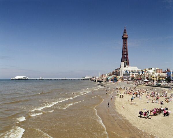 BLACKPOOL, Lancashire. Beach view from the central pier looking towards the tower