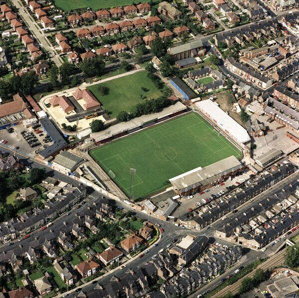 BOOTHAM CRESCENT, York. Aerial view of the home of York City Football Club since 1932. Photographed in 1992. Aerofilms Collection (see Links)