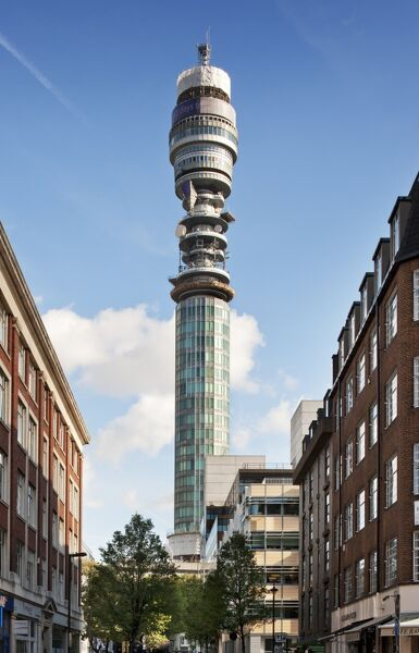 BT Tower, 60 Cleveland Street, Camden, London. General view of tower, formerly The Post Office Tower