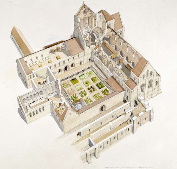 BUILDWAS ABBEY, Shropshire. Aerial view cutaway reconstruction drawing of the abbey in the 12th century by Terry Ball (English Heritage Graphics Team)