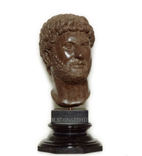 HADRIAN'S WALL: CHESTERS ROMAN FORT, Northumberland. Bust of Emperor Hadrian. 18th century porphyry copy after Roman original