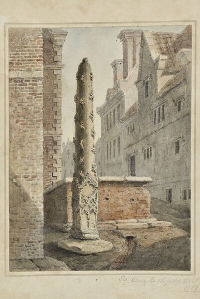 Butter Cross, Low Conduit Street, Scarborough, North Yorkshire. Watercolour painting signed by Sir Henry Englefield, 1783. Artwork collected by C G Harper