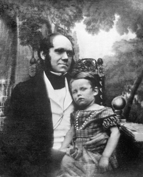 DOWN HOUSE, Downe, Kent. Daguerreotype photograph of Charles Darwin and his eldest son, William Erasmus Darwin - 1842