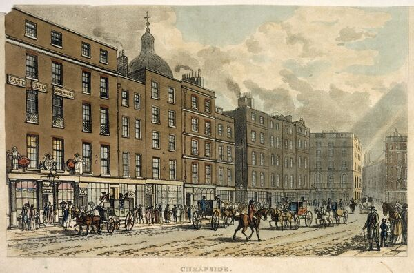 "MAYSON BEETON COLLECTION. ""Cheapside"" London engraving by anon 1813"