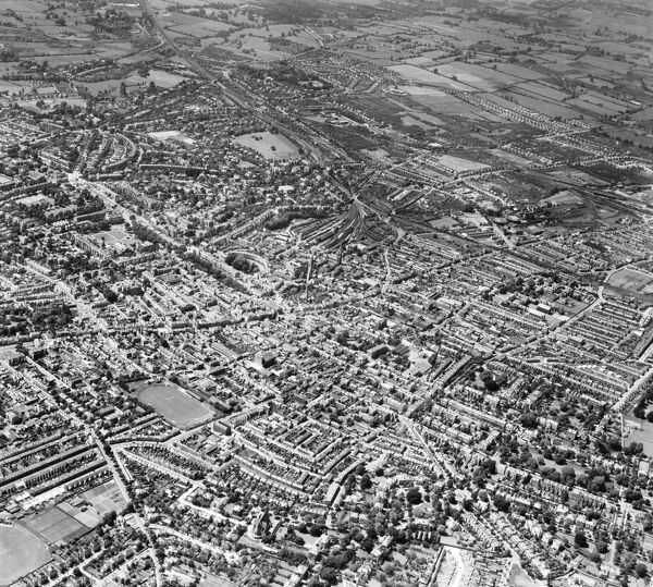 The High Street and the town centre, Cheltenham, Gloucestershire. Photographed by Aerofilms Ltd in June 1947