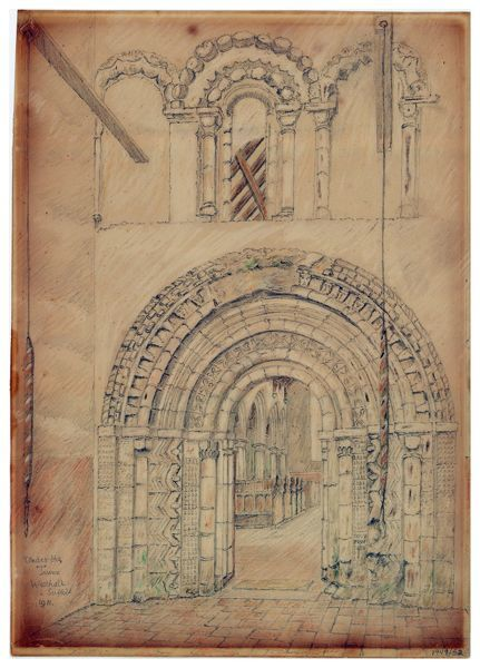 St Andrew's Church, Westhall, Suffolk. Sketch of the interior of St Andrew's Church, showing the original Norman arch that formed the west entrance to the church, now incorporated at the base of the tower