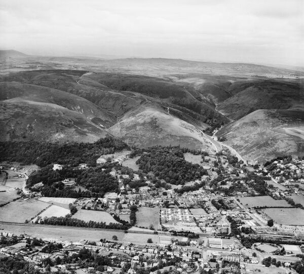 The Long Mynd and the town, Church Stretton, Shropshire, from the south-east. Photographed by Aerofilms Ltd in July 1948