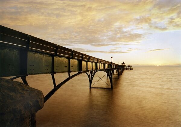 CLEVEDON PIER, Marine Parade, Clevedon, North Somerset. Sunset view