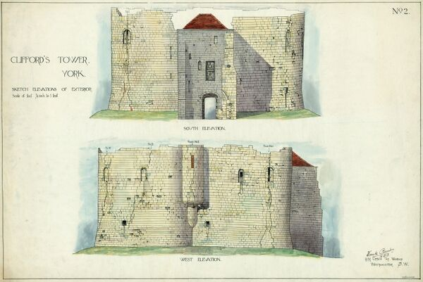 CLIFFORD'S TOWER, YORK CASTLE, North Yorkshire. Hand coloured sketch elevations of the exterior south and west faces of Clifford's Tower. Drawing by Frank Baines, H.M. Office of Works, 16th December 1913