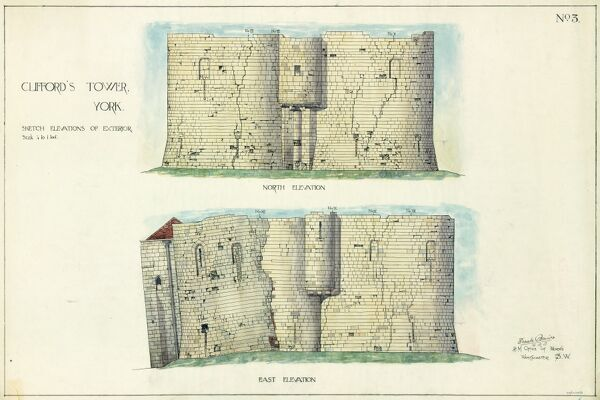 CLIFFORD'S TOWER, YORK CASTLE, North Yorkshire. Hand coloured sketch elevations of the exterior north and east faces of Clifford's Tower. Drawing by Frank Baines, H.M. Office of Works, 16th December 1913