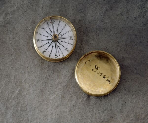 "DOWN HOUSE, Downe, Kent. A gold compass with the signature "" C Darwin &quot"