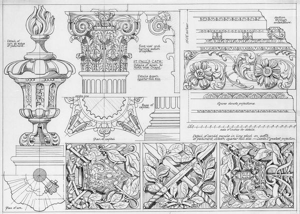 St Pauls Cathedral, London. Various details including screen to North West Chapel. Measured drawing, date uncertain