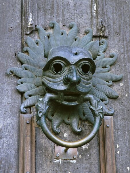 DURHAM CATHEDRAL, County Durham. Cathedral Sanctuary knocker in the shape of a mask