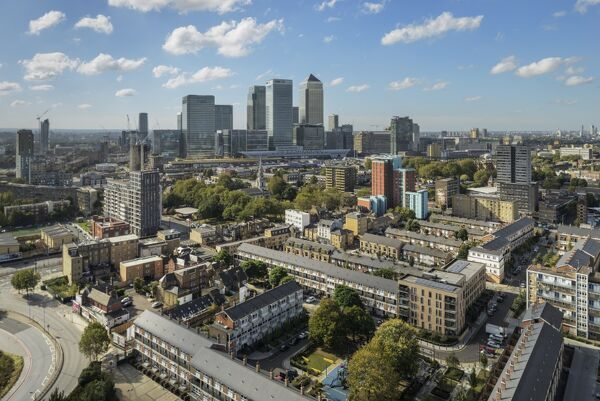 View from Balfron Tower, Poplar, Tower Hamlets, London. View south west toward Canary Wharf