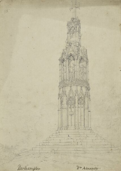 Eleanor Cross, London Road, Hardingstone, Northampton. Pencil drawing signed by William Alexander (d.1815). Artwork collected by C G Harper