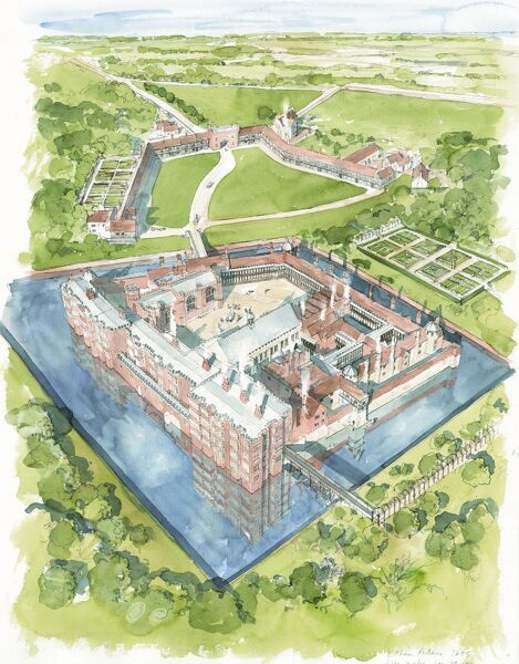 ELTHAM PALACE. Reconstruction drawing by Liam Wales of Eltham Palace in about 1604, based primarily on two surveys by Thorpe. The surviving Great Hall can be seen in the centre of the picture