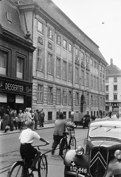 British Embassy (Lindencrone Mansion), St Annae Plads, Copenhagen, Denmark. View from Bredgade photographed in 1962