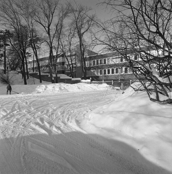 British Embassy Offices, 8-8 Thomas Heftyes Gate, Oslo, Norway. A snowy scene showing the south front. Photographed in 1966