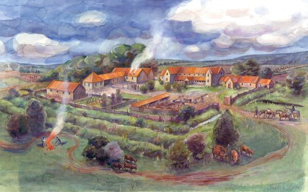 Reconstruction drawing, by Judith Dobie, showing Gargrave Roman Villa, also known as Kirk Sink Roman Villa, and its associated buildings and landscape, as the site may have appeared at the height of its occupation in the second or third century AD