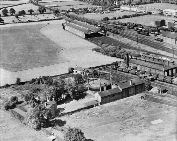 The Gas Works and railway, Craven Arms, Shropshire. Photographed by Aerofilms Ltd in June 1939