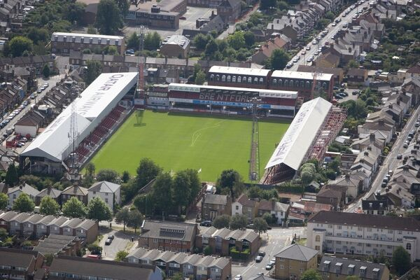 "GRIFFIN PARK STADIUM, Brentford. Aerial view of the home of Brentford Football Club ""The Bees"" since 1904. Photographed in August 2006"