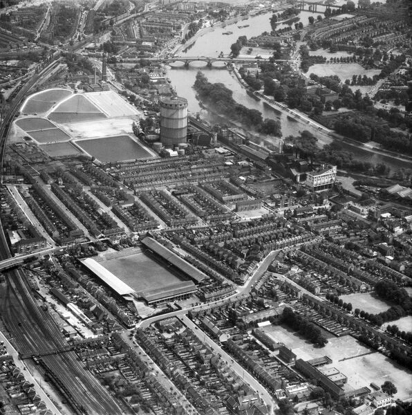 "GRIFFIN PARK, Brentford. Aerial view of the home of ""The Bees"" since 1904. Photographed in 1957. Aerofilms Collection (see Links)"
