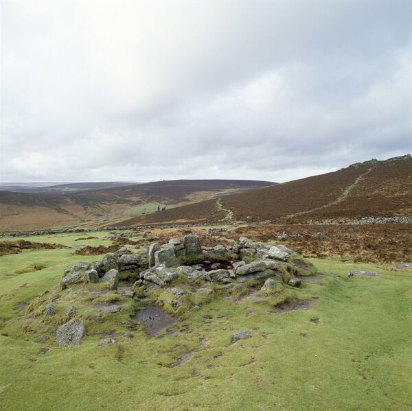 GRIMSPOUND, Dartmoor, Devon. General view of the remains of a Bronze Age settlement