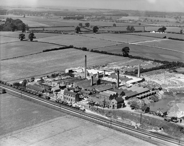 The Hathern Station Brick & Terra Cotta Works, Sutton Bonington, Nottinghamshire from the south. Photographed by Aerofilms Ltd in June 1938