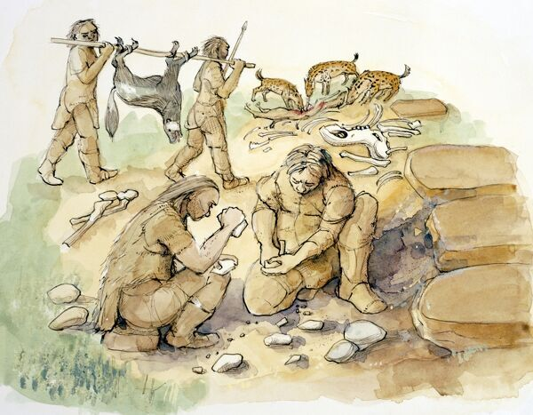 GLASTON, Rutland. Reconstruction drawing of hominids and hyenas. Middle to Upper Palaeolithic period by Judith Dobie (English Heritage Graphics Team)