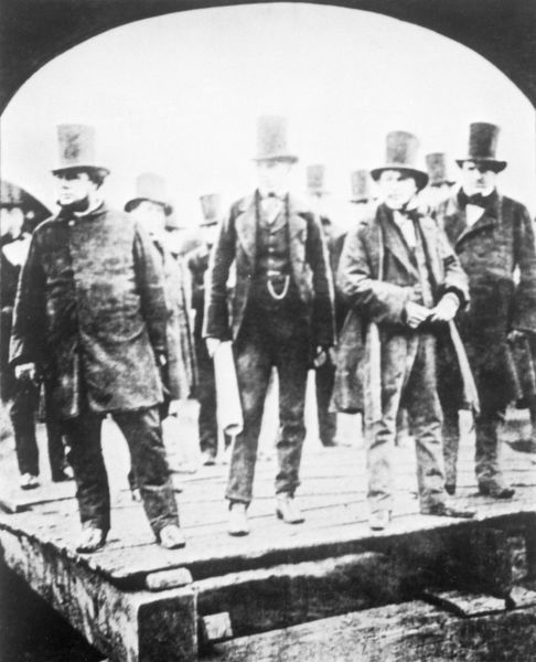 John Scott Russell (left), shipbuilder, Henry Wakefield, Isambard Kingdom Brunel and Lord Derby at the launch of the 'Great Eastern' at Millwall on 1st January 1859 or the attempted launch on 3rd November 1858