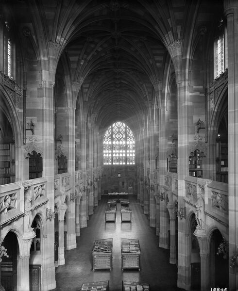 JOHN RYLANDS LIBRARY, Deansgate, Manchester. Interior, looking east from the gallery. The library was completed in 1899 to the designs of architect Basil Champneys, and was commissioned by Enriqueta Augustina Rylands in memory of her late husband