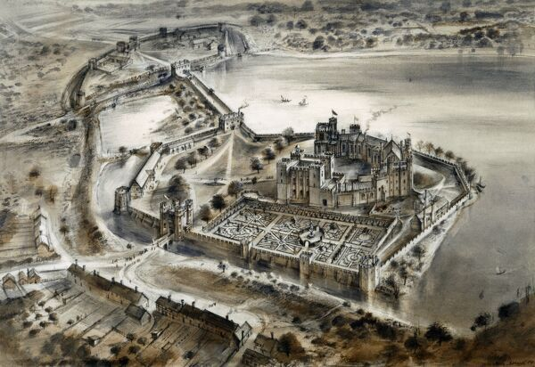 KENILWORTH CASTLE, Warwickshire. Reconstruction drawing of the castle as it might have appeared in 1575 by Alan Sorrell