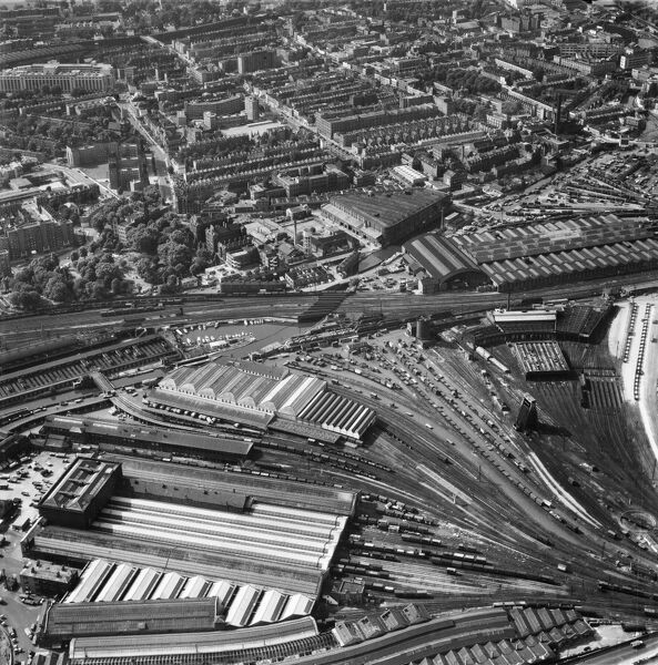 Kings Cross Station, London. The Midlands Goods Shed, Western Goods Shed and surrounding lines. Photographed in September 1963. Aerofilms Collection
