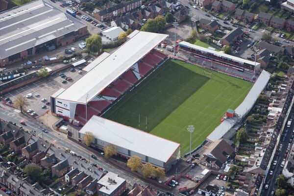Kingsholm Stadium, Gloucester. First built in 1891, it has been home for the Gloucester Rugby Union club ever since. Photographed in 2010