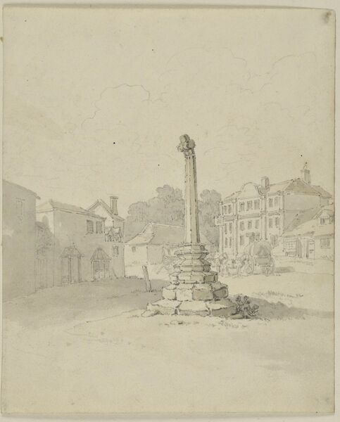 Village Cross, High Street, Lacock, Wiltshire. A view from the north-west, with the Red Lion Inn in the background. Watercolour painting possibly by William Alexander (d.1815). Artwork collected by C G Harper