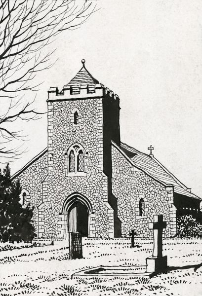 Our Lady Of Sorrows Church, Effingham, Surrey. Pen and ink sketch dated 1944. Part of the P F Anson Collection of illustrations of Roman Catholic churches