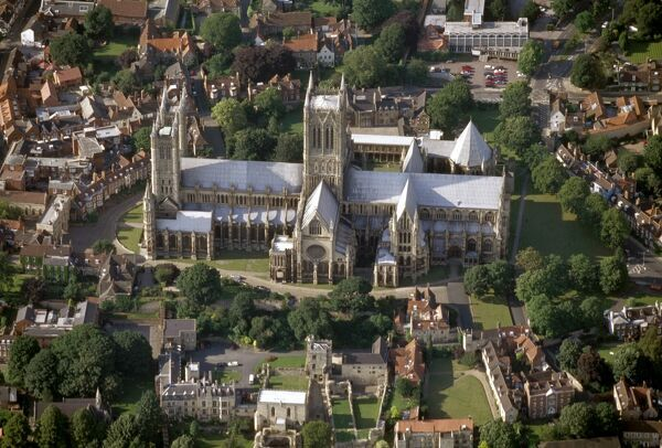 Lincoln Cathedral. Aerial view from the south. The cathedral was founded in the late 11th century by Bishop Remigius and is an outstanding example of gothic architecture. The medieval cathedral has been damaged by both a fire and an earthquake