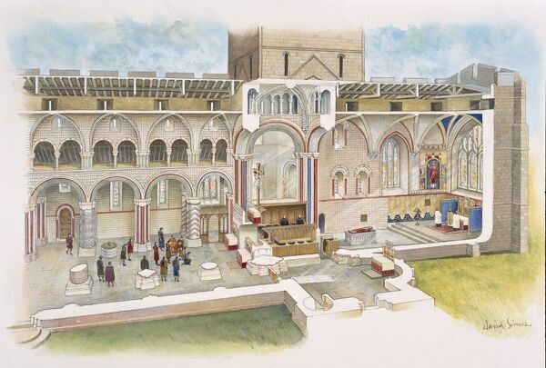 LINDISFARNE PRIORY, Holy Island, Northumberland. Cutaway reconstruction drawing by David Simon of the priory church in the later Middle Ages
