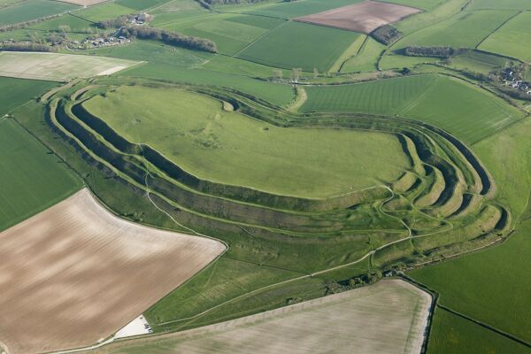 MAIDEN CASTLE, Dorset. Aerial view of the iron age hill fort