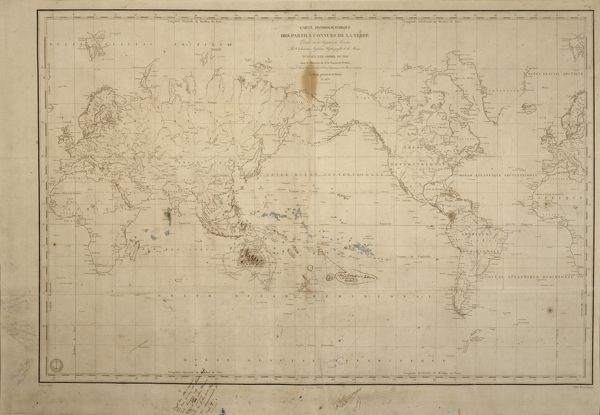 DOWN HOUSE, Kent. A map of the World with annotations by Charles Darwin