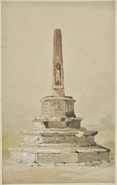 Market Cross, Bishop's Lydeard, Somerset. Watercolour painting possibly by William Alexander (d.1815) showing the fifteenth century Market Cross, now in the churchyard of St Mary's Church. Artwork collected by C G Harper