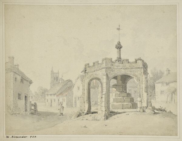 Market Cross, Cheddar, Somerset. View from the north with St Andrew's Church in the background. Watercolour painting signed by William Alexander (d.1815). Artwork collected by C G Harper